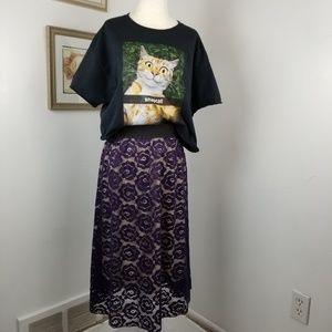 Lularoe Lola Skirt Floral Lace